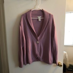 Lilac Sparkle Gemstone Snap Long Sleeved Cardigan